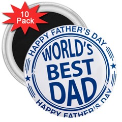 Fathers Day Rubber Stamp Effect 3  Button Magnet (10 pack)