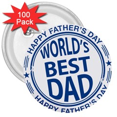 Fathers Day Rubber Stamp Effect 3  Button (100 pack)