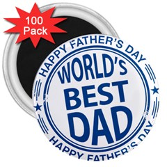 Fathers Day Rubber Stamp Effect 3  Button Magnet (100 Pack)