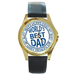 Fathers Day Rubber Stamp Effect Round Leather Watch (Gold Rim)