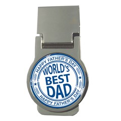 Fathers Day Rubber Stamp Effect Money Clip (Round)