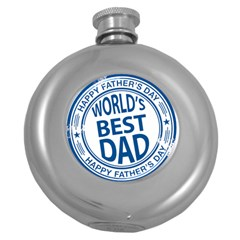 Fathers Day Rubber Stamp Effect Hip Flask (Round)