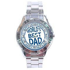 Fathers Day Rubber Stamp Effect Stainless Steel Watch