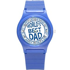 Fathers Day Rubber Stamp Effect Plastic Sport Watch (small)