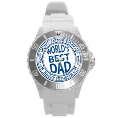 Fathers Day Rubber Stamp Effect Plastic Sport Watch (Large)