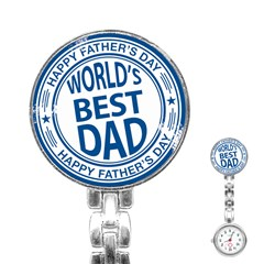 Fathers Day Rubber Stamp Effect Stainless Steel Nurses Watch