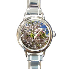 Cherry Blossoms Round Italian Charm Watch