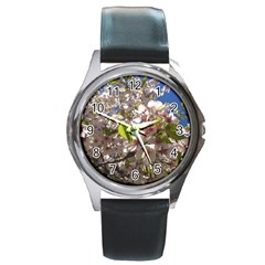 Cherry Blossoms Round Leather Watch (Silver Rim)