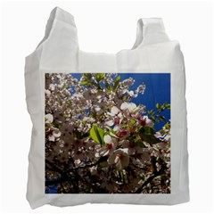 Cherry Blossoms White Reusable Bag (two Sides)