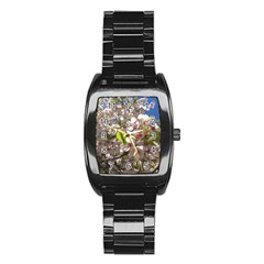 Cherry Blossoms Stainless Steel Barrel Watch
