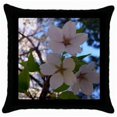 Sakura Black Throw Pillow Case
