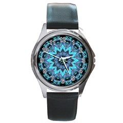 Star Connection, Abstract Cosmic Constellation Round Leather Watch (Silver Rim)