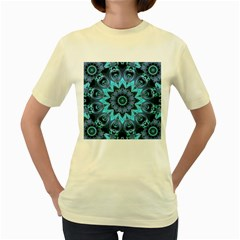 Star Connection, Abstract Cosmic Constellation Women s T-shirt (Yellow)