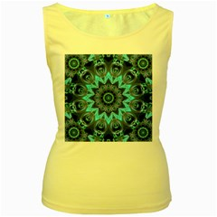 Star Connection, Abstract Cosmic Constellation Women s Tank Top (yellow)