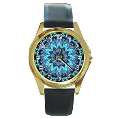 Star Connection, Abstract Cosmic Constellation Round Leather Watch (Gold Rim)