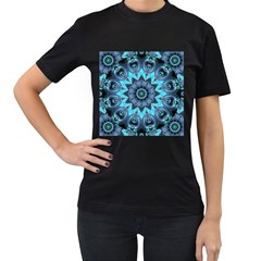 Star Connection, Abstract Cosmic Constellation Women s Two Sided T-shirt (Black)