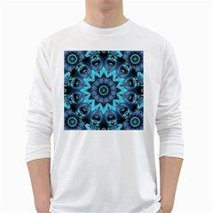 Star Connection, Abstract Cosmic Constellation Men s Long Sleeve T-shirt (White)