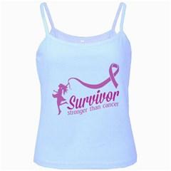 Survivor Stronger Than Cancer Pink Ribbon Baby Blue Spaghetti Tank
