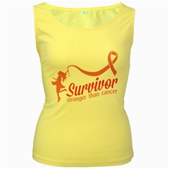 Survivor Stronger Than Cancer Pink Ribbon Women s Tank Top (yellow)