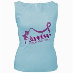 Survivor Stronger Than Cancer Pink Ribbon Women s Tank Top (Baby Blue)