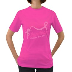 Survivor Stronger Than Cancer Pink Ribbon Women s T Shirt (colored)