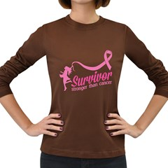 Survivor Stronger Than Cancer Pink Ribbon Women s Long Sleeve T-shirt (Dark Colored)