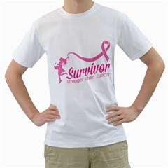Survivor Stronger Than Cancer Pink Ribbon Men s T-Shirt (White)