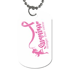 Survivor Stronger Than Cancer Pink Ribbon Dog Tag (Two-sided)