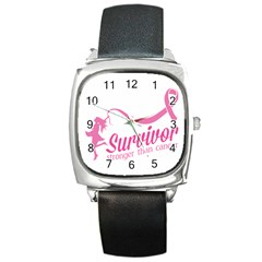 Survivor Stronger Than Cancer Pink Ribbon Square Leather Watch