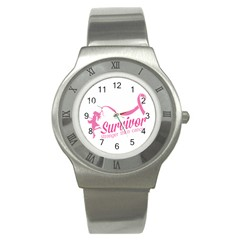 Survivor Stronger Than Cancer Pink Ribbon Stainless Steel Watch (slim)