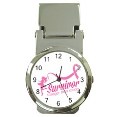 Survivor Stronger Than Cancer Pink Ribbon Money Clip with Watch