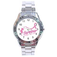 Survivor Stronger Than Cancer Pink Ribbon Stainless Steel Watch