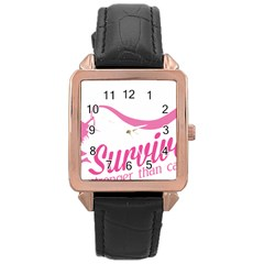 Survivor Stronger Than Cancer Pink Ribbon Rose Gold Leather Watch