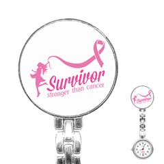 Survivor Stronger Than Cancer Pink Ribbon Stainless Steel Nurses Watch