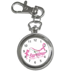 Survivor Stronger Than Cancer Pink Ribbon Key Chain Watch