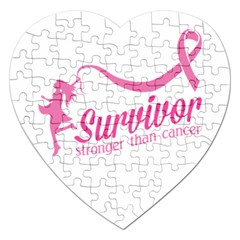 Survivor Stronger Than Cancer Pink Ribbon Jigsaw Puzzle (Heart)