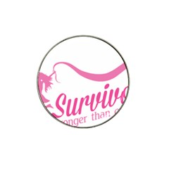 Survivor Stronger Than Cancer Pink Ribbon Golf Ball Marker 10 Pack (for Hat Clip)
