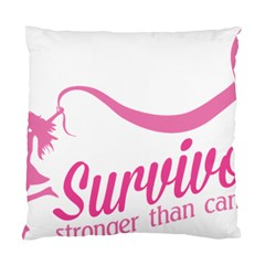 Survivor Stronger Than Cancer Pink Ribbon Cushion Case (single Sided)