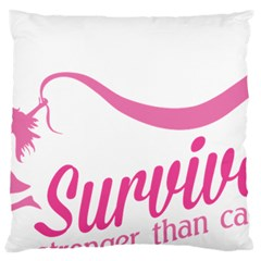 Survivor Stronger Than Cancer Pink Ribbon Large Cushion Case (single Sided)