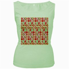 Far Out Geometrics Women s Tank Top (Green)