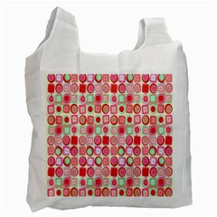 Far Out Geometrics White Reusable Bag (One Side)