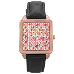 Far Out Geometrics Rose Gold Leather Watch