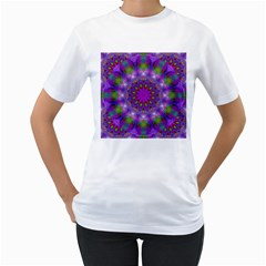Rainbow At Dusk, Abstract Star Of Light Women s Two-sided T-shirt (White)
