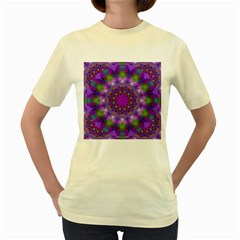 Rainbow At Dusk, Abstract Star Of Light Women s T-shirt (Yellow)