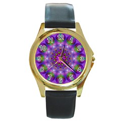 Rainbow At Dusk, Abstract Star Of Light Round Leather Watch (gold Rim)