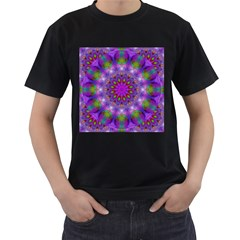 Rainbow At Dusk, Abstract Star Of Light Men s Two Sided T-shirt (Black)