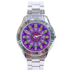 Rainbow At Dusk, Abstract Star Of Light Stainless Steel Watch