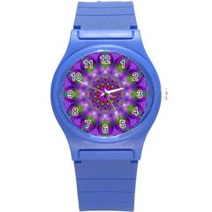 Rainbow At Dusk, Abstract Star Of Light Plastic Sport Watch (Small)