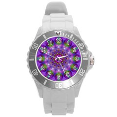 Rainbow At Dusk, Abstract Star Of Light Plastic Sport Watch (Large)