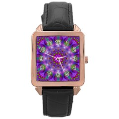 Rainbow At Dusk, Abstract Star Of Light Rose Gold Leather Watch